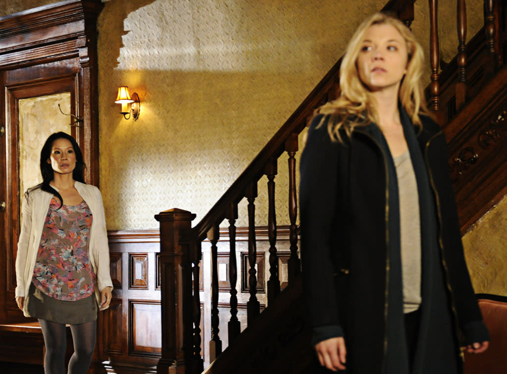 """The Woman"" - As Sherlock reels at the reappearance of his former lover, Irene Adler (Natalie Dormer), a series of flashbacks unravel the tumultuous events that led to his downfall into addiction, on the two hour, first season finale of ""Elementary."""