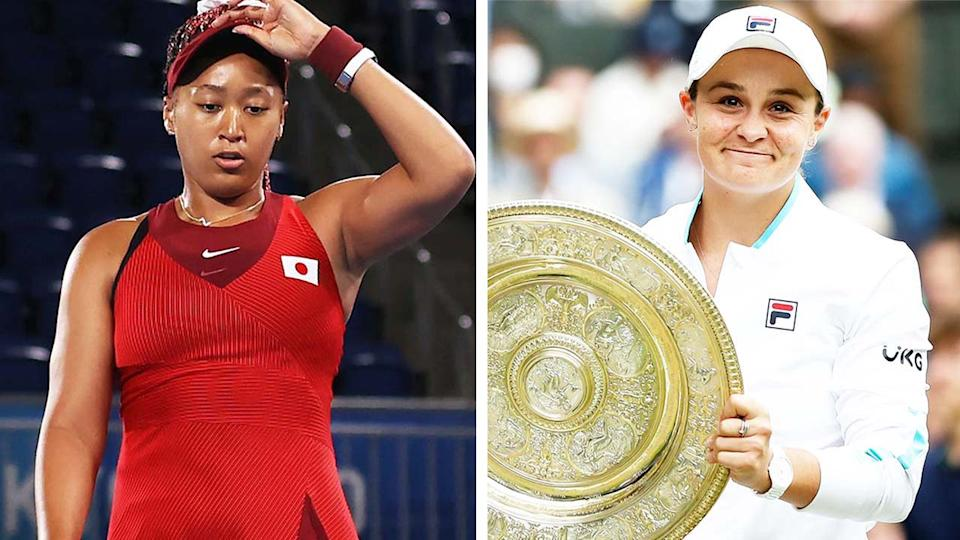 Ash Barty (pictured right) smiles with the Wimbledon trophy and (pictured left) Naomi Osaka dejected during her Tokyo Olympics loss.