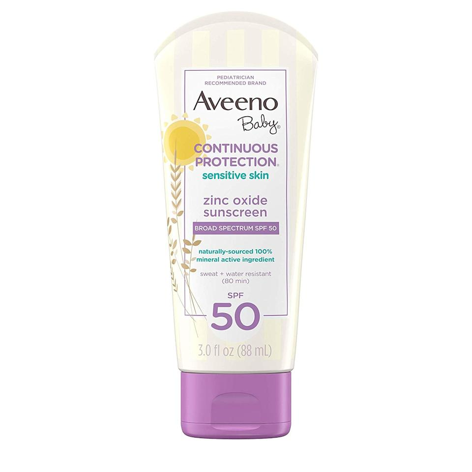 "<p>One of the highest-rated drugstore brand sunscreens on the market, <a href=""https://www.popsugar.com/buy/Aveeno-Baby-Continuous-Protection-Sensitive-Skin-Zinc-Oxide-Sunscreen-Lotion-SPF-50-554742?p_name=Aveeno%20Baby%20Continuous%20Protection%20Sensitive%20Skin%20Zinc%20Oxide%20Sunscreen%20Lotion%2C%20SPF%2050&retailer=amazon.com&pid=554742&price=36&evar1=moms%3Aus&evar9=17218020&evar98=https%3A%2F%2Fwww.popsugar.com%2Fphoto-gallery%2F17218020%2Fimage%2F17218036%2FAveeno-Baby-Continuous-Protection-Sensitive-Skin-Zinc-Oxide-Sunscreen-Lotion-SPF-50&list1=sunscreen%2Caveeno%20baby%2Ceco%2Csummer%2Chealth%20and%20fitness%2Cfamily%20travel%2Ckid%20shopping%2Chealth%20and%20wellness%2Cbaby%20shopping&prop13=api&pdata=1"" rel=""nofollow"" data-shoppable-link=""1"" target=""_blank"" class=""ga-track"" data-ga-category=""Related"" data-ga-label=""https://www.amazon.com/Aveeno-Baby-Continuous-Water-Resistant-Travel-Size/dp/B01HOHBECO"" data-ga-action=""In-Line Links"">Aveeno Baby Continuous Protection Sensitive Skin Zinc Oxide Sunscreen Lotion, SPF 50</a> ($36 for three bottles) uses zinc to block the sun's rays.</p>"