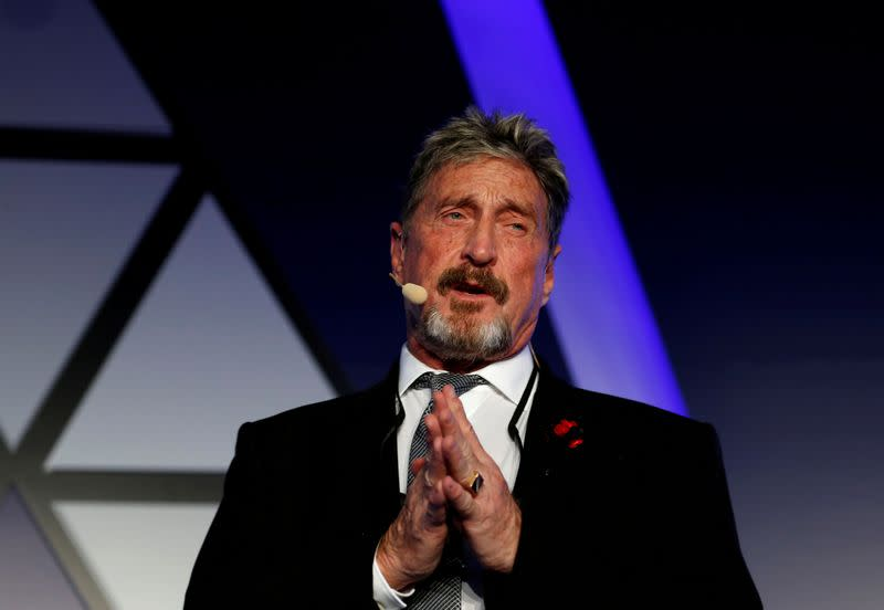 FILE PHOTO: John McAfee, co-founder of McAfee Crypto Team and CEO of Luxcore and founder of McAfee Antivirus, speaks at the Malta Blockchain Summit in St Julian's