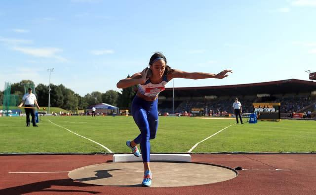 Katarina Johnson-Thompson competed in the shot put and 100m hurdles (Simon Cooper/PA)