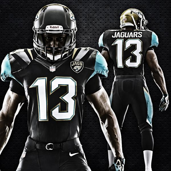 This image provided by the Jacksonville Jaguars on Tuesday, April 23, 2013, shows the team's new NFL football uniform for the 2013 season. (AP Photo/Jacksonville Jaguars)