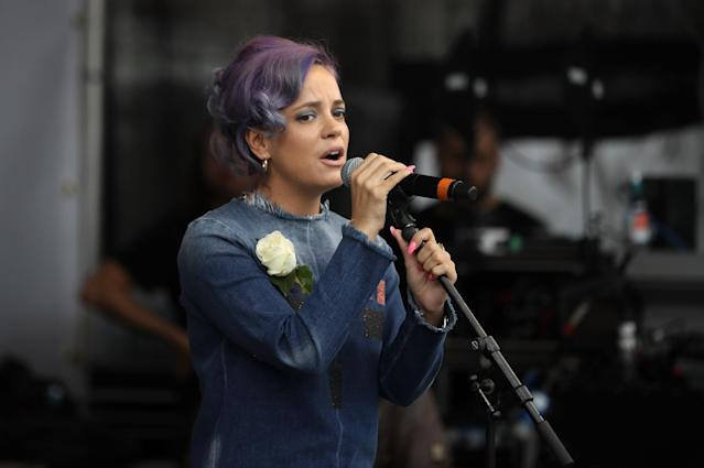 "Lily Allen used the post to promote her new album, ""No Shame."" (Photo: Getty)"