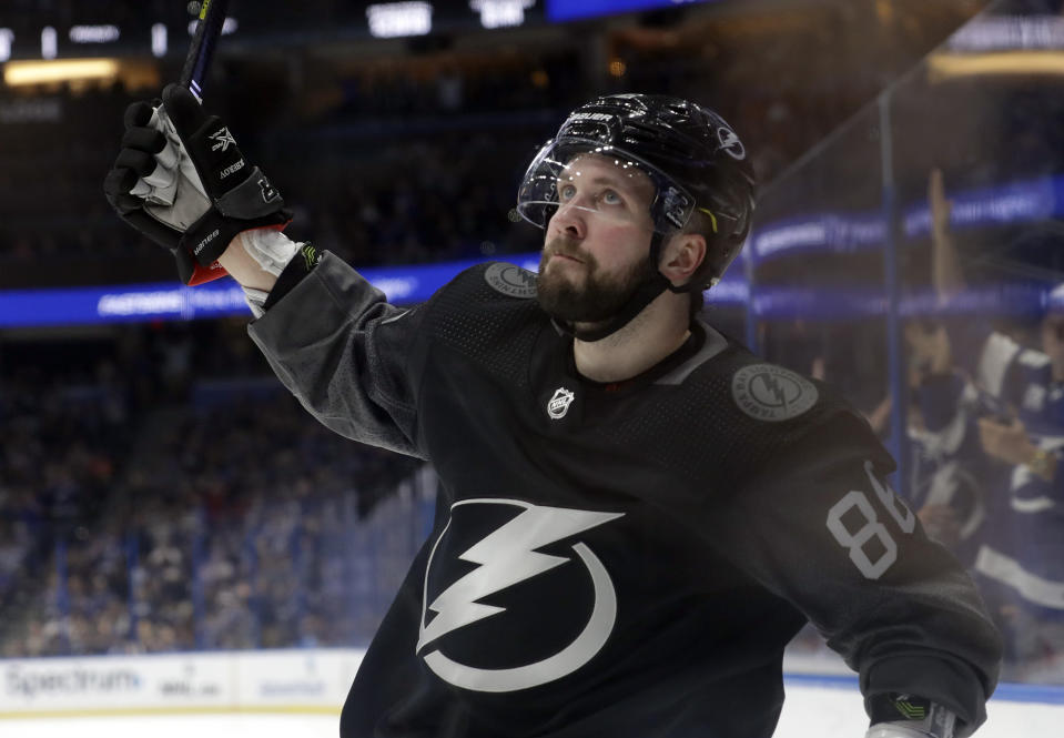 Tampa Bay Lightning right wing Nikita Kucherov celebrates his goal against the Ottawa Senators during the second period of an NHL hockey game Saturday, March 2, 2019, in Tampa, Fla. (AP Photo/Chris O'Meara)