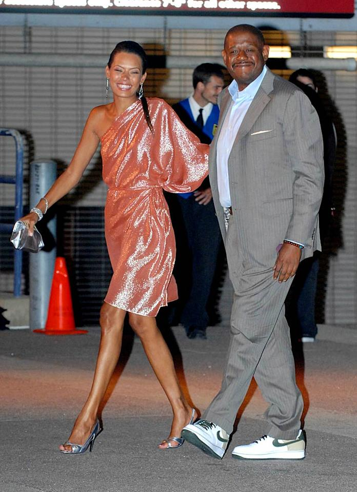 """Forest Whitaker's shoes are too casual for the occasion. Team Beckham/<a href=""""http://www.splashnewsonline.com"""" target=""""new"""">Splash News</a> - July 22, 2007"""