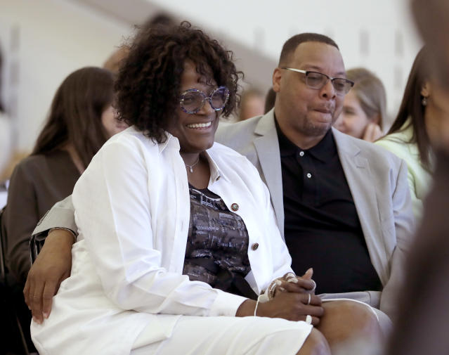 Kylia and Wendell Carter Sr., smile as they listen to their son, Chicago Bulls first round draft pick Wendell Carter Jr. (AP Photo/Charles Rex Arbogast)