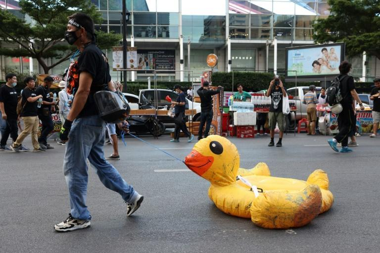 A protestor walks with an inflatable duck during a rally in Bangkok. Inflatable ducks have also featured in protests in Brazil and Russia