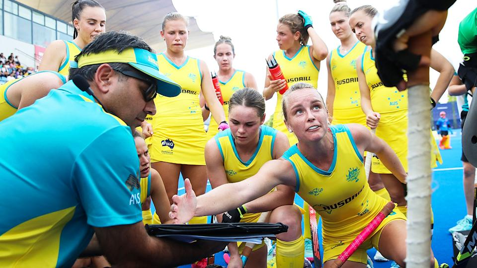 Paul Gaudoin, pictured here addressing his players during the Hockeyroos' clash with China in 2019.