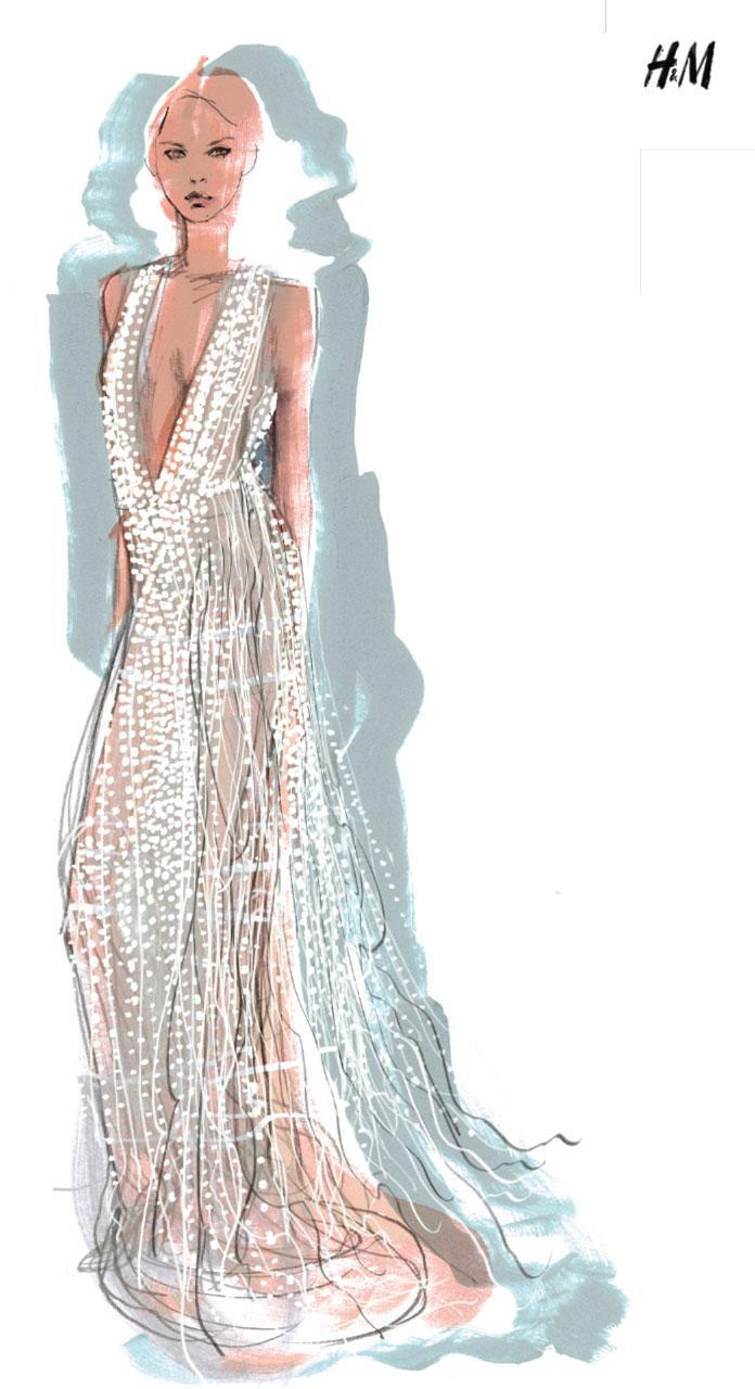 The illustration detailing Stella Maxwell's custom pearl dress by H&M.