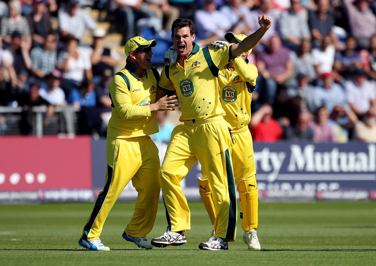 Australia's Clint Mackay celebrates taking a hat trick during the fourth one day international at the SWALEC Stadium, Cardiff.