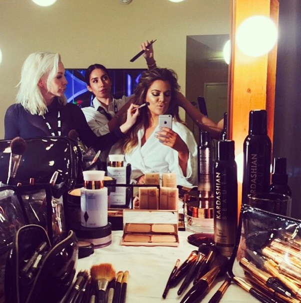 Yet another mirror selfie right here. This time, it's Khloe Kardashian prepping for the #EAfterParty khloekardashian/Instagram