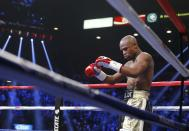 Floyd Mayweather Jr. of the U.S. arrives in the ring to face Manny Pacquiao of the Philippines in their welterweight WBO, WBC and WBA (Super) title fight in Las Vegas, Nevada, May 2, 2015. REUTERS/Steve Marcus