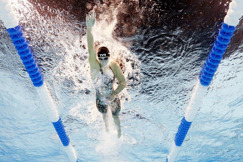 OMAHA, NEBRASKA - JUNE 14: Katie Ledecky of the United States competes in a preliminary heat for the Women's 400m freestyle during Day Two of the 2021 U.S. Olympic Team Swimming Trials at CHI Health Center on June 14, 2021 in Omaha, Nebraska