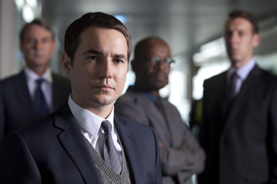 "Programme Name: Line Of Duty - TX: n/a - Episode: n/a (No. 1) - Picture Shows: L - R Detective Constable Nigel Morton (NEIL MORRISSEY), Detective Sergeant Steve Arnott (MARTIN COMPSTON), DCI Tony Gates (LENNIE JAMES), DS Matt ""Dot"" Cottan (CRAIG PARKINSON)  - (C) BBC/World Productions - Photographer: Ed Miller"