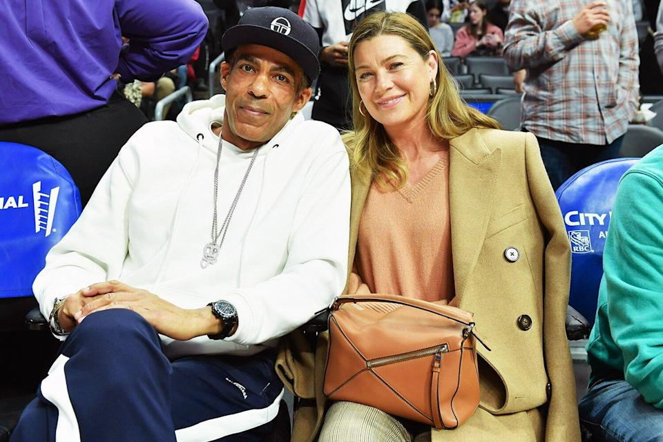 Chris Ivery and Ellen Pompeo attend a basketball game between the Los Angeles Clippers and Cleveland Cavaliers at Staples Center on January 14, 2020 in Los Angeles, California