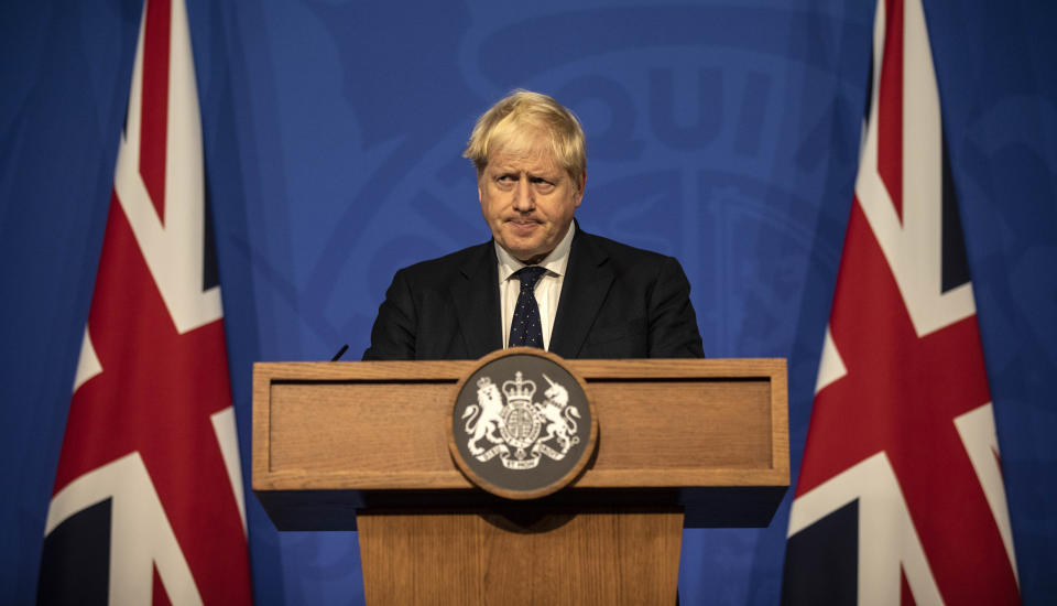 LONDON, ENGLAND - SEPTEMBER 14: Britain's Prime Minister Boris Johnson attends a press conference in the Downing Street Briefing Room on September 14, 2021 in London, England. The prime minister's briefing was preceded by his health secretary's appearance before the House of Commons, in which he laid out the country's strategies for managing the pandemic through the autumn and winter. (Photo by Richard Pohle - WPA Pool/Getty Images)