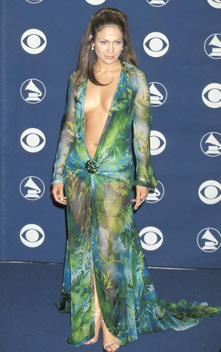 You never forget the first time seeing Jennifer Lopez in this iconic gown.  (Photo: Jim Smeal via Getty Images)