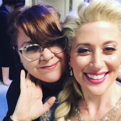 """Star dresser Fran Curry with Caissie Levy backstage at Broadway's """"Frozen."""""""