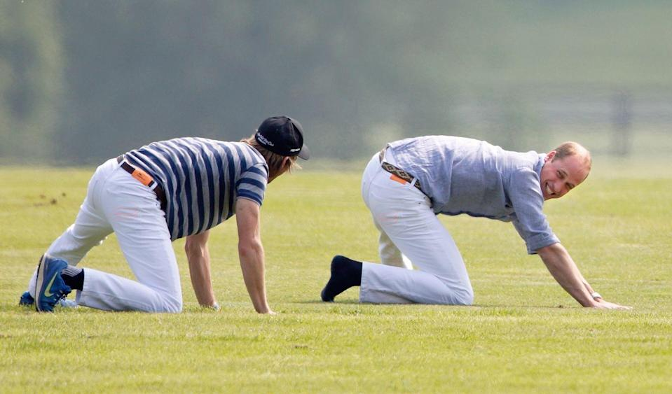 <p>Prince William does some stretching to warm up for a polo match at Coworth Park Polo Club. <br></p>