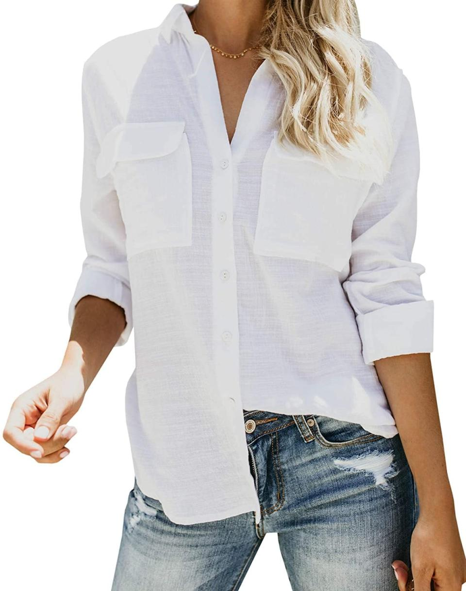 <p>Everyone needs a <span>Runcati Button-Down Shirt</span> ($19 - $24) in their closet because it's endlessly wearable and super versatile. Whether paired with jeans, a denim midi skirt or some black trousers, it'll look great.</p>