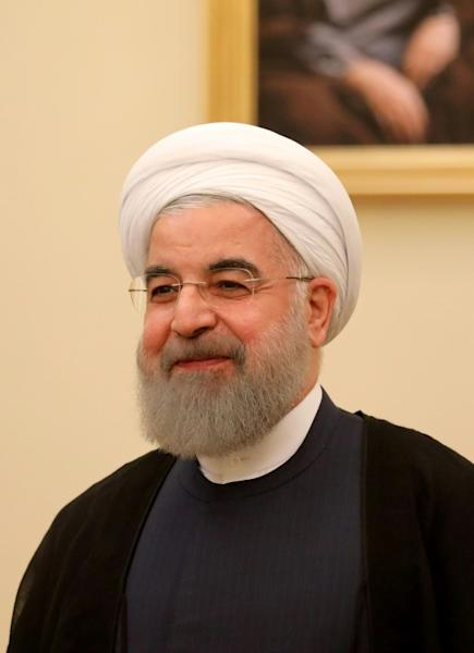 "Iranian President Hassan Rouhani, who declared ""victory"" over the Islamic State group in Iraq and Syria"