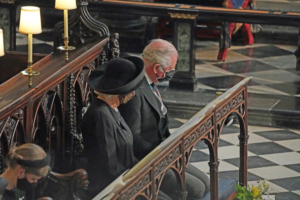 <p>Prince Charles and the Duchess of Cornwall were able to sit together during the service. (AFP via Getty Images)</p>