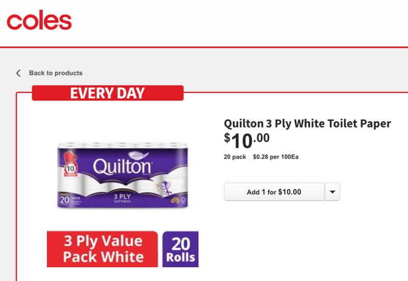 Coles has slashed the price of a popular pandemic stockpile item: toilet paper. Photo: Coles.