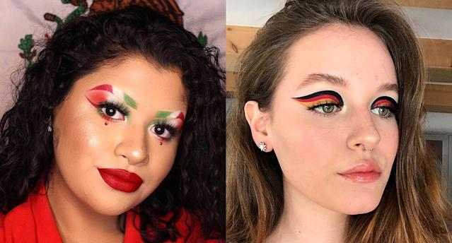 Women are combining their passions for makeup and soccer in celebration of the World Cup. (Photo: mabelc.v/brittnymakesup via Instagram)