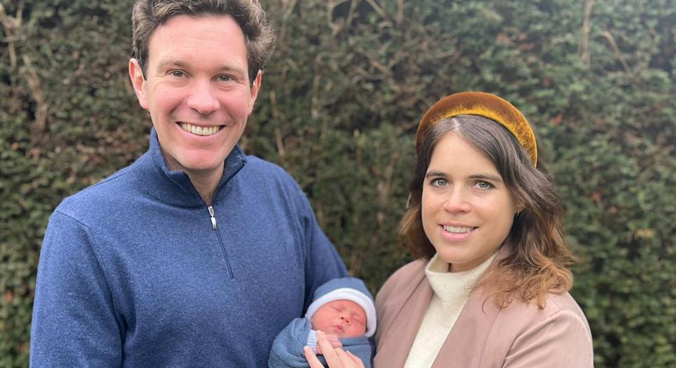 Copyright: Princess Eugenie and Mr Jack Brooksbank. NEWS EDITORIAL USE ONLY. NO COMMERCIAL USE. NO MERCHANDISING, ADVERTISING, SOUVENIRS, MEMORABILIA or COLOURABLY SIMILAR. NOT FOR USE AFTER 20th AUGUST, 2021, WITHOUT PRIOR PERMISSION FROM BUCKINGHAM PALACE. This photograph is provided to you strictly on condition that you will make no charge for the supply, release or publication of it and that these conditions and restrictions will apply (and that you will pass these on) to any organisation to whom you supply it. There shall be no commercial use whatsoever of the photographs (including by way of example only) any use in merchandising, advertising or any other non-news editorial use. The photographs must not be digitally enhanced, manipulated or modified in any manner or form. All other requests for use should be directed to the Press Office at Buckingham Palace in writing. MANDATORY CREDIT: Princess Eugenie and Jack Brooksbank. Undated handout photo issued by Buckingham Palace of Princess Eugenie and Mr Jack Brooksbank with their son August Philip Hawke Brooksbank. The boy was born at The Portland Hospital in central London on Tuesday February 9. Issue date: Saturday February 20, 2021.
