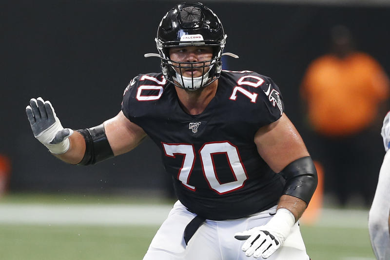 FILE - In this Sept. 29, 2019, file photo, Atlanta Falcons offensive tackle Jake Matthews (70) looks to block during an NFL football game against the Tennessee Titans in Atlanta. With sports still largely on hold because of the coronavirus pandemic, athletes and coaches have been looking for ways to pass all that unexpected free time. For Atlanta Falcons lineman Jake Matthews, it's brushing up on his grilling skills.  (AP Photo/Michael Zarrilli, File)