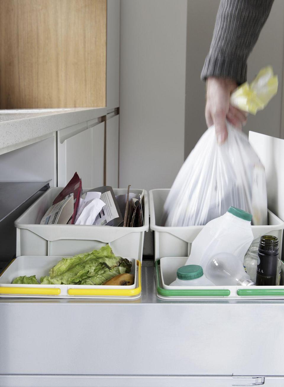 "<p>Make this the year when you really get to grips with recycling. Place bins and bags in a spot where they are easily reached, and if collection facilities are not readily available, set a regular weekly time when you take everything to your local recycling centre.</p><p>You can separate your household waste with ease by investing in clearly labelled recycling bags (<a href=""https://www.amazon.co.uk/dp/B01NBJQHVT/?tag=hearstuk-yahoo-21&ascsubtag=%5Bartid%7C2060.g.185%5Bsrc%7Cyahoo-uk"" rel=""nofollow noopener"" target=""_blank"" data-ylk=""slk:try this set from Amazon"" class=""link rapid-noclick-resp"">try this set from Amazon</a>) or a nifty recycling unit (<a href=""https://go.redirectingat.com?id=127X1599956&url=https%3A%2F%2Fwww.josephjoseph.com%2Fen-gb%2Ftotem-58-recycler&sref=https%3A%2F%2Fwww.housebeautiful.com%2Fuk%2Flifestyle%2Fg185%2Fnew-years-resolutions-home%2F"" rel=""nofollow noopener"" target=""_blank"" data-ylk=""slk:Joseph Joseph stock a good range of waste & recycling bins"" class=""link rapid-noclick-resp"">Joseph Joseph stock a good range of waste & recycling bins</a>).</p><p><strong>More: <a href=""http://www.housebeautiful.co.uk/lifestyle/eco/how-to/a234/recycle-more/"" rel=""nofollow noopener"" target=""_blank"" data-ylk=""slk:How to recycle more"" class=""link rapid-noclick-resp"">How to recycle more</a></strong></p>"