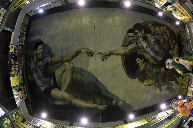 "Argentina's Sistine Chapel of football pays tribute to Michelangelo's ""Creation of Adam"" (AFP Photo/JUAN MABROMATA)"