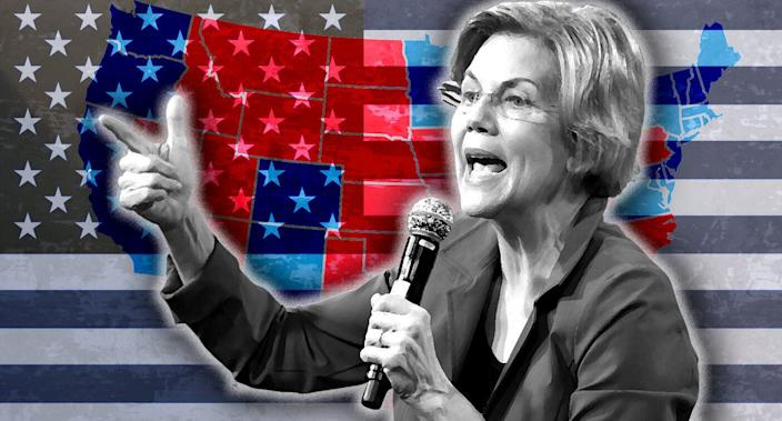 Elizabeth Warren and the electoral college map. (Photo illustration: Yahoo News; photos: Ethan Miller/Getty Images, AP(2), Getty Images)