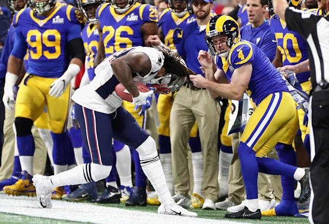 <p>Greg Zuerlein #4 of the Los Angeles Rams makes a tackle against the New England Patriots in the first half of the Super Bowl LIII at Mercedes-Benz Stadium on February 3, 2019 in Atlanta, Georgia. (Photo by Jamie Squire/Getty Images) </p>