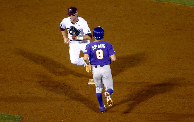Mississippi State shortstop Jordan Westburg (11) gets the force out on LSU's Antoine Duplantis (8) during the fifth inning of a Southeastern Conference tournament NCAA college baseball game Wednesday, May 22, 2019, in Hoover, Ala. (AP Photo/Butch Dill)