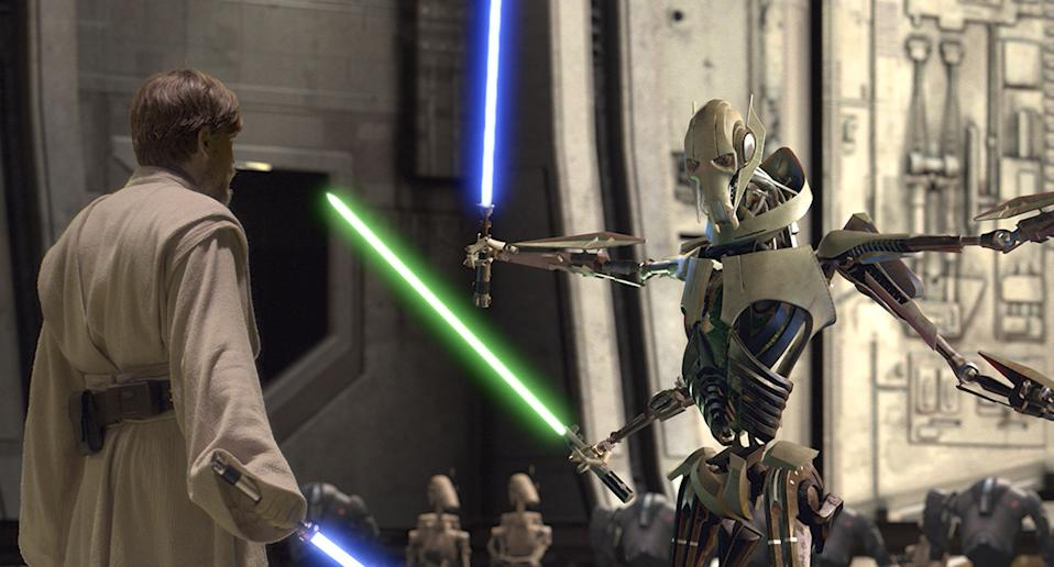 """Hello there!"" Obi-Wan Kenobi (Ewan McGregor) stands up to General Grevious in Revenge of the Sith. (20th Century Fox)"