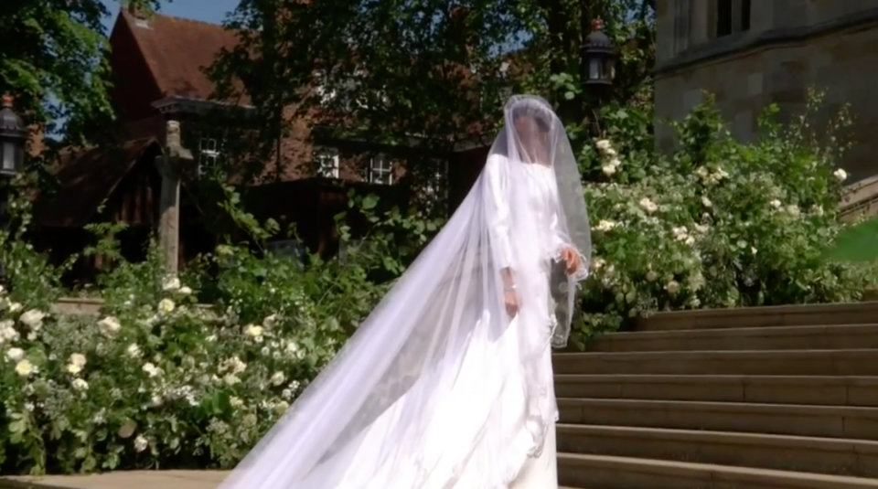 The countries of the Commonwealth are represented in the wedding dress (Picture: PA)