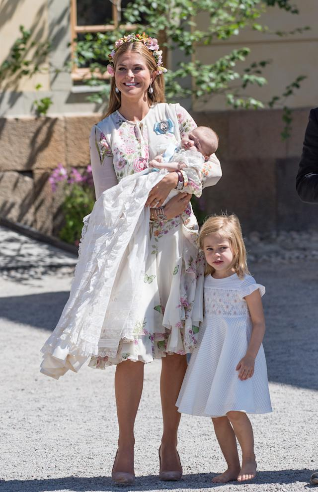 Princess Leonore (right) with her mother, Princess Madeleine, and baby sister, Princess Adrienne. (Photo: Samir Hussein/Samir Hussein/WireImage)