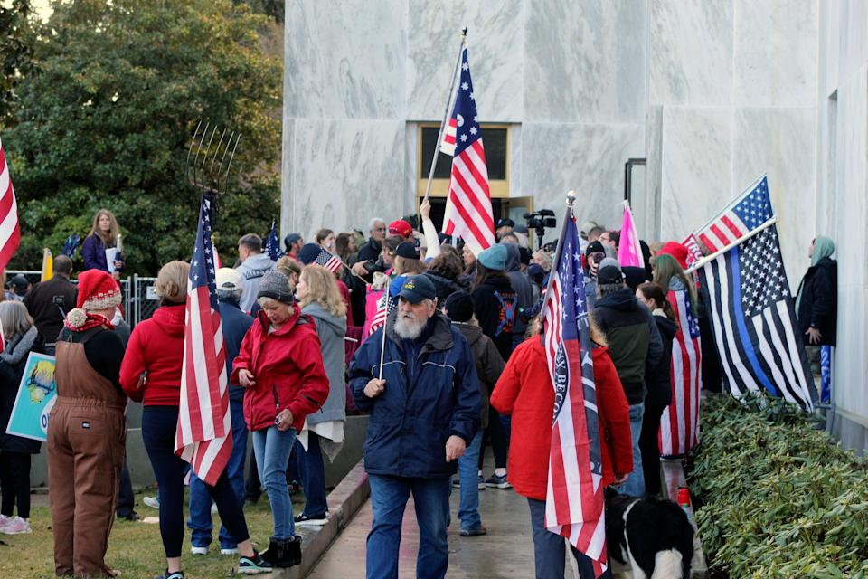 <p>Pro-Trump and anti-mask demonstrators hold a rally outside the Oregon State Capitol</p> (Copyright 2020 The Associated Press. All rights reserved.)