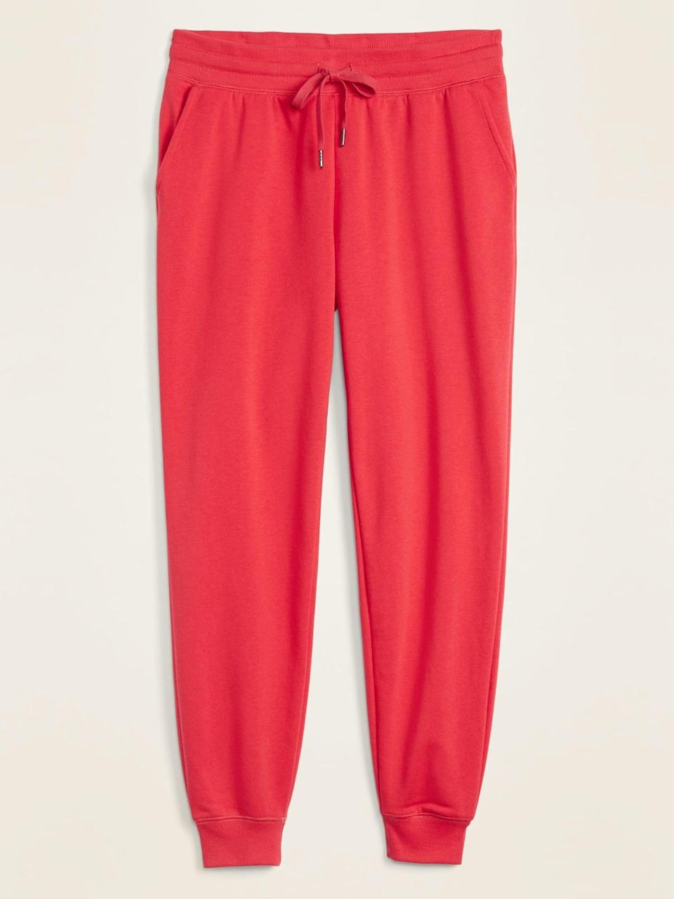 <p>If you love bright shades, opt for these <span>Old Navy Mid-Rise Tapered-Leg Jogger Pants</span> ($30) in red.</p>