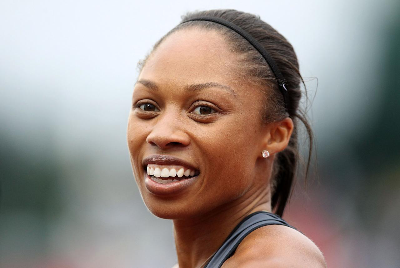 EUGENE, OR - JUNE 30:  Allyson Felix reacts after winning the Women's 200 Meter Dash Final on day nine of the U.S. Olympic Track & Field Team Trials at the Hayward Field on June 30, 2012 in Eugene, Oregon.  (Photo by Christian Petersen/Getty Images)