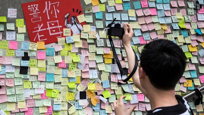 The distinctly colourful Lennon Walls cropped up across Hong Kong during last year's pro-democracy protests