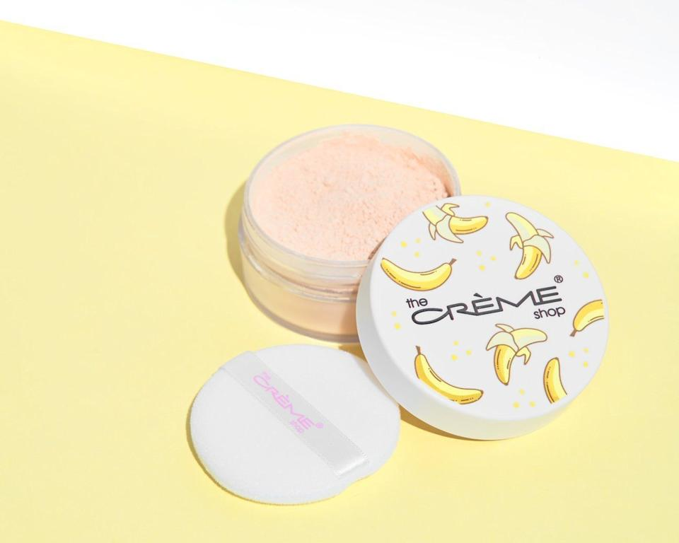 "This brightening setting powder blurs well and leaves your face with an airbrushed finish. <br /><br /><strong>BuzzFeed writer <a href=""https://www.buzzfeed.com/nusrat21"" target=""_blank"" rel=""noopener noreferrer"">Nusrat Sultana</a>, who swears by this formula, said:</strong> ""I love using this to set my makeup because there's never any cakiness — it makes my makeup look fresh and bright so it doesn't oxidize or fade. The airbrushed effect is everything.""<br /><br /><strong>Get it from The Crème Shop for <a href=""https://go.skimresources.com?id=38395X987171&xs=1&url=https%3A%2F%2Fwww.thecremeshop.com%2Fcollections%2Fnew-arrivals%2Fproducts%2Fgo-bananas-banana-powder&xcust=HPBeautyProducts6075ec5be4b0fcee71a35a6f"" target=""_blank"" rel=""nofollow noopener noreferrer"" data-skimlinks-tracking=""5735076