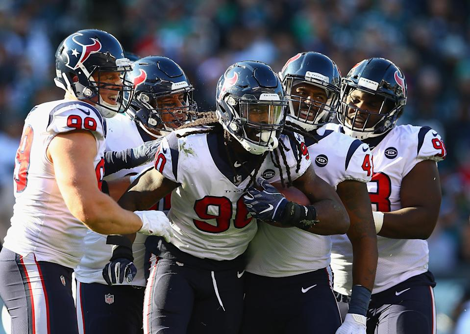 Texans fans may be upset about a late roughing call on Jadeveon Clowney, but officials got this one right. (Getty)