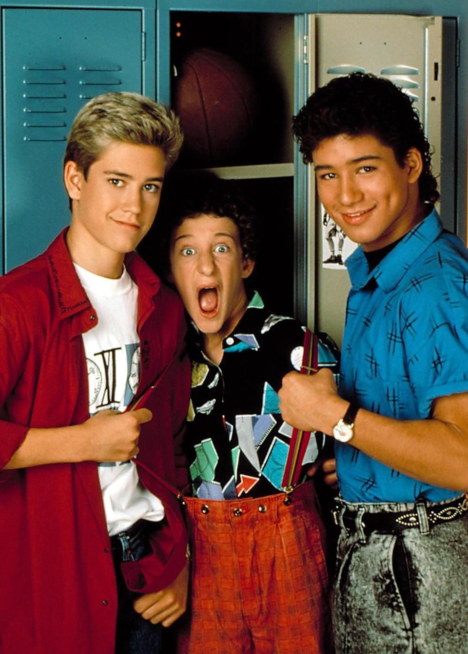<ul> <li><strong>What to wear for Zack:</strong> Two words: frosted tips. Once you've got that, throw in a pair of high-tops and a button-down denim shirt (tucked in, Preppy).</li> <li><strong>What to wear for Screech:</strong> Pull your baggy printed pants up with some suspenders and wear a loud button-down underneath.</li> <li><strong>What to wear for Slater:</strong> Acid-wash jeans, a black t-shirt, and a colorful button-down with the sleeves rolled up to show off your muscles.</li> <li><strong>How to act:</strong> Like you're dodging Mr. Belding.</li> </ul>
