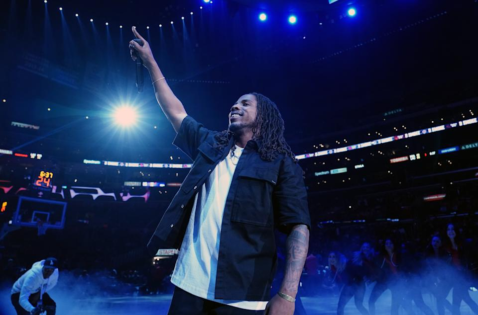 Feb 5, 2020; Los Angeles, California, USA;  Recording artist and rapper D Smoke aka Daniel Anthony Farris performs during halftime of the NBA game between the LA Clippers and the Miami Heat at Staples Center. Mandatory Credit: Kirby Lee-USA TODAY Sports