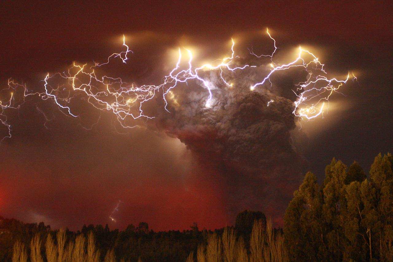 There are at least two types of volcanic lightning, a new radio-mapping study found. One occurs at the mouth of the volcano, and the other—as shown over Chile's Puyehue-Cordón Caulle volcano complex in 2011—electrifies the heights of the plume, possibly as rising water becomes a mix of droplets and ice-coated ash particles. Photograph by Carlos Gutierrez, Reuters