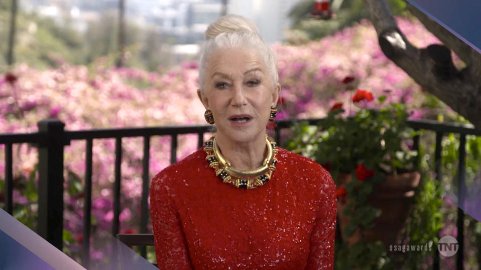 VARIOUS CITIES - APRIL 04: In this screengrab released on April 4, 2021, Helen Mirren speaks during the 27th Annual Screen Actors Guild Awards on April 04, 2021. (Photo by SAGAwards2021 via Getty Images )