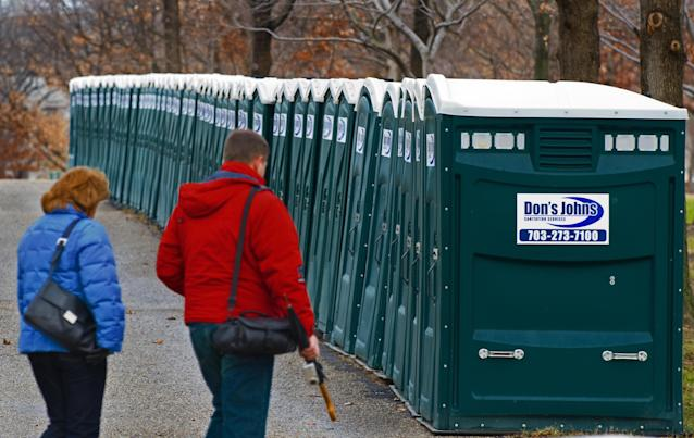 <p>Portable toilets near the Capitol and the National Mall on January 11, 2009, set up for the inauguration of President Barack Obama. (Photo: Paul J. Richards/AFP/Getty Images) </p>