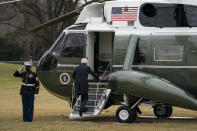 President Joe Biden boards Marine One to visit wounded troops at Walter Reed National Military Medical Center, on the South Lawn of the White House, Friday, Jan. 29, 2021, in Washington. (AP Photo/Evan Vucci)